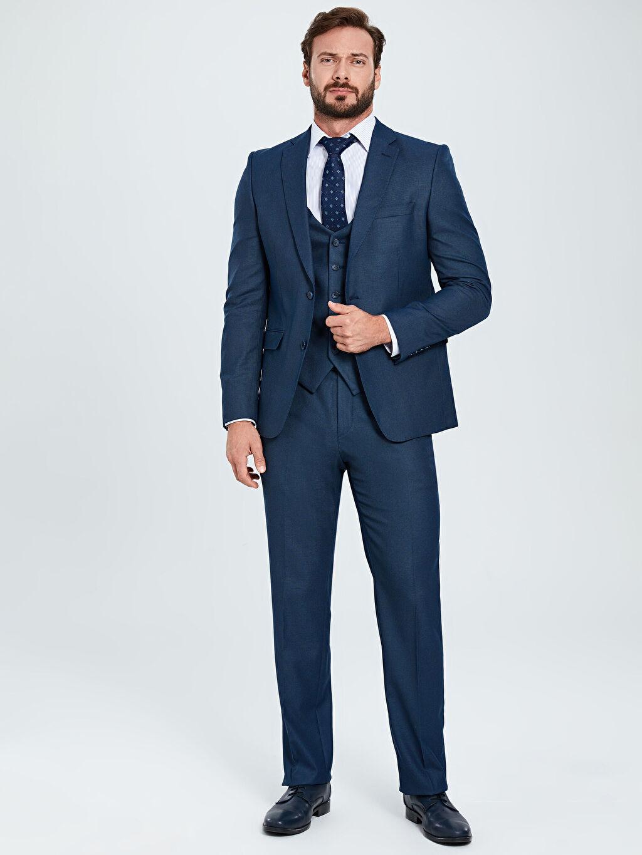 %71 Polyester %2 Elastan %27 Viskoz Standart Kalıp Desenli Takım Elbise Ceketi