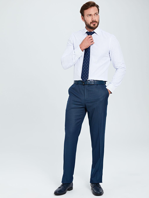Lacivert Standart Kalıp Armürlü Takım Elbise Pantolonu 9W1960Z8 LC Waikiki