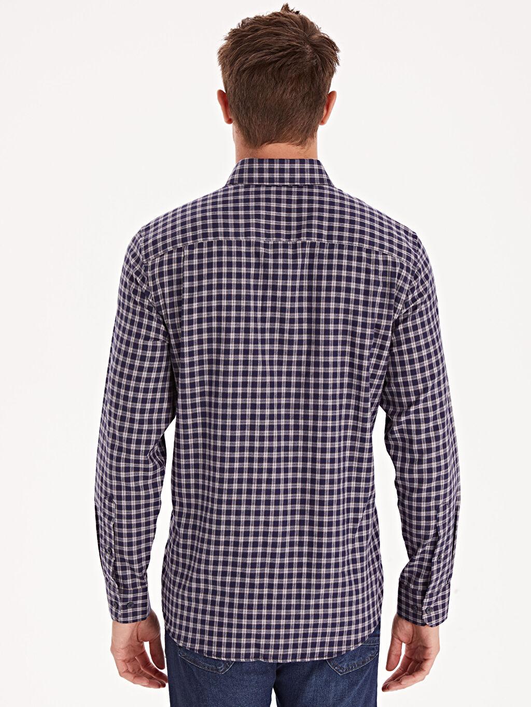 %56 Pamuk %44 Polyester Regular Fit Ekose Uzun Kollu Gabardin Gömlek
