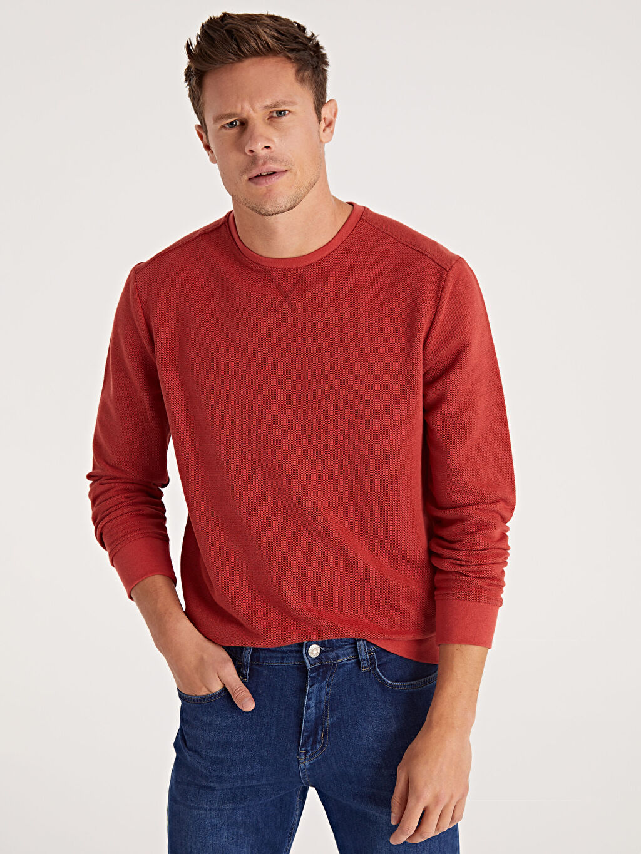 %81 Pamuk %19 Polyester  Rahat Kalıp Bisiklet Yaka Basic Sweatshirt