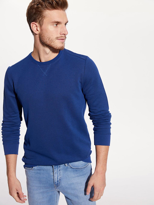 %81 Pamuk %19 Polyester Sweatshirt Rahat Kalıp Pike Bisiklet Yaka Rahat Kalıp Bisiklet Yaka Basic Sweatshirt