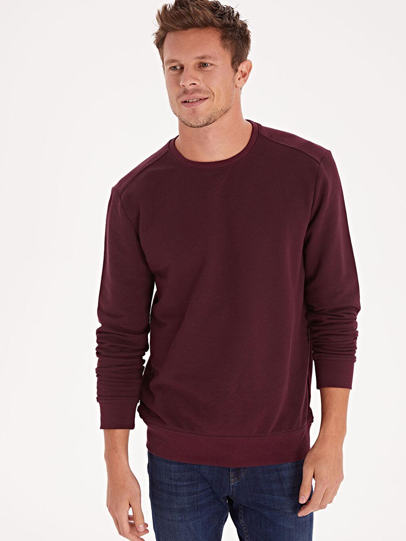%91 Pamuk %9 Polyester Sweatshirt Rahat Kalıp Pike Bisiklet Yaka Rahat Kalıp Bisiklet Yaka Basic Sweatshirt
