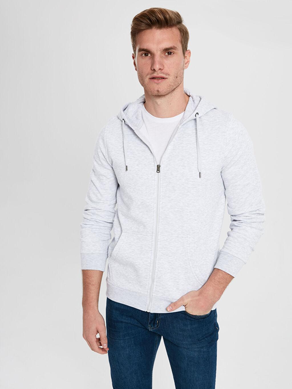 Gri Kapüşonlu Basic Sweatshirt 9W3323Z8 LC Waikiki