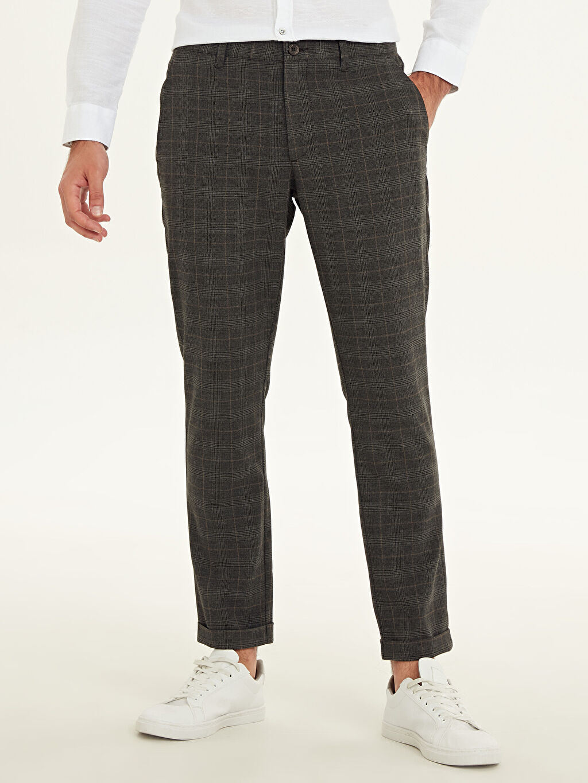 %64 Polyester %33 Viskon %3 Elastan Normal Bel Dar Pantolon Aksesuarsız Çizgili Slim Fit Ekose Poliviskon Bilek Boy Pantolon