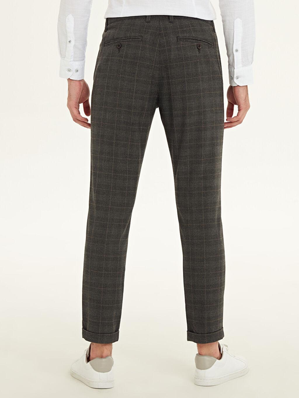 Erkek Slim Fit Ekose Poliviskon Bilek Boy Pantolon