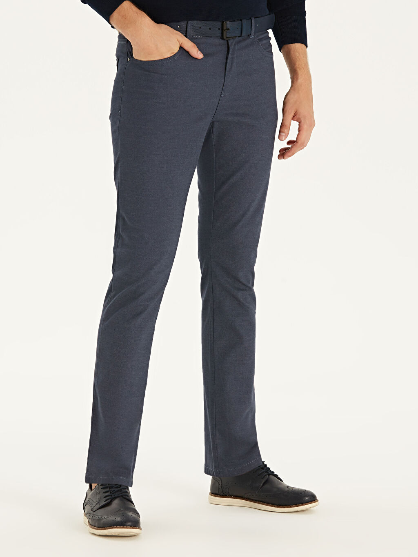 %71 Pamuk %26 Polyester %3 Elastan Dar Pilesiz Pantolon Normal Bel Slim Fit Armürlü Pantolon