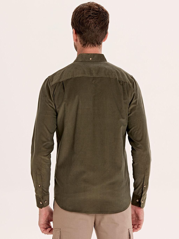 Erkek Regular Fit Kadife Uzun Kollu Gömlek
