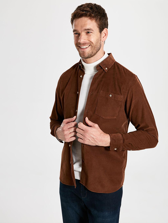 %100 Pamuk Kadife Standart Patlı Gömlek Uzun Kol Düz Düğmeli Gömlek Yaka Regular Fit Kadife Uzun Kollu Gömlek