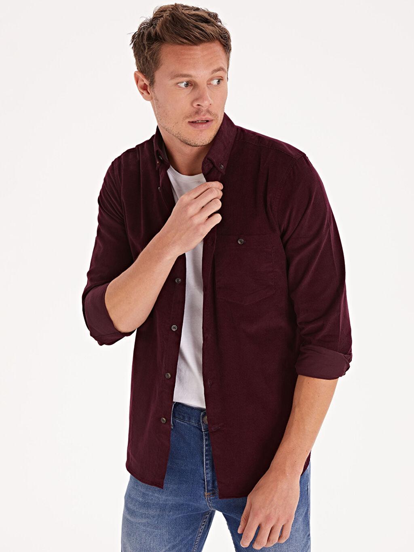 %100 Pamuk Normal Düz Uzun Kol Gömlek Düğmeli Regular Fit Kadife Uzun Kollu Gömlek