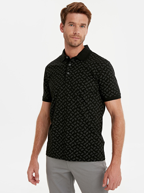 Erkek Polo Yaka Baskılı Kısa Kollu Pike Tişört