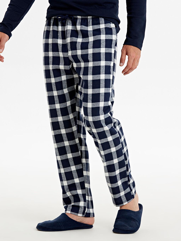 %100 Pamuk Pijamalar Standart Standart Kalıp Ekose Pijama Alt
