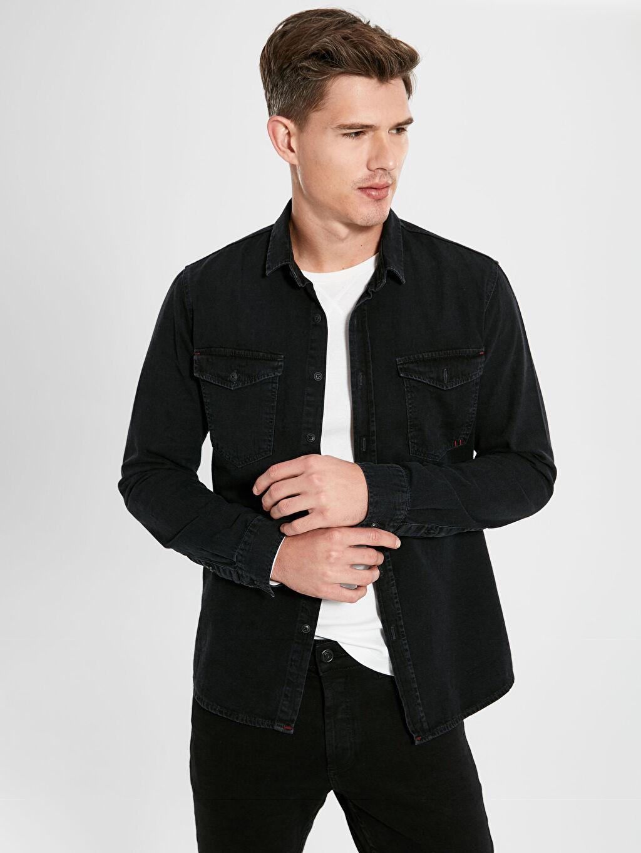 %100 Pamuk Jean Gömlek Gömlek Yaka Dar Uzun Kol Düz Slim Fit Uzun Kollu Jean Gömlek