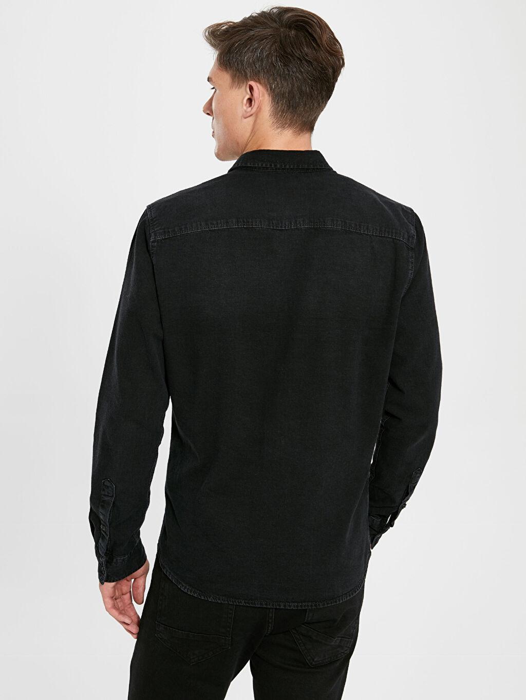 %100 Pamuk Slim Fit Uzun Kollu Jean Gömlek
