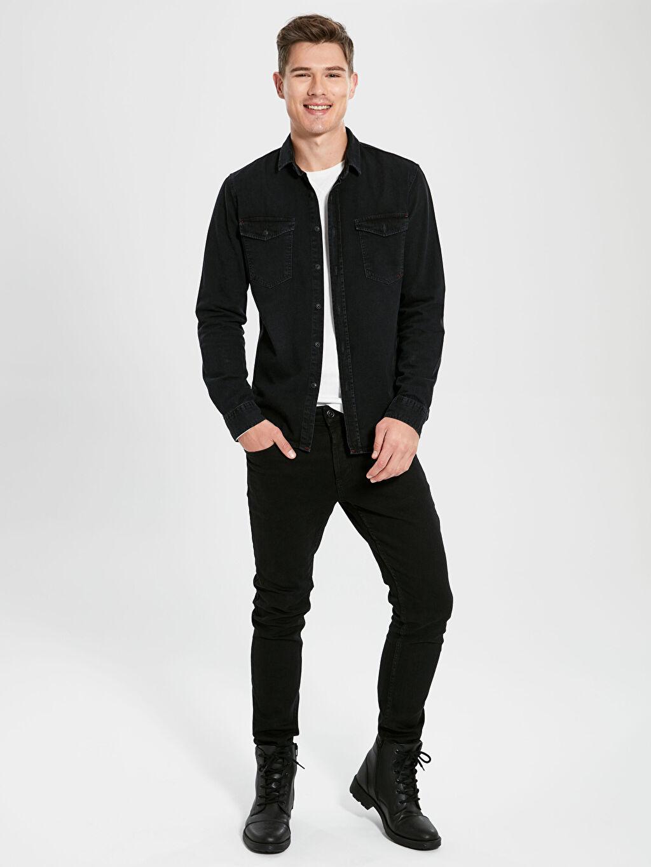 LC Waikiki Siyah Slim Fit Uzun Kollu Jean Gömlek