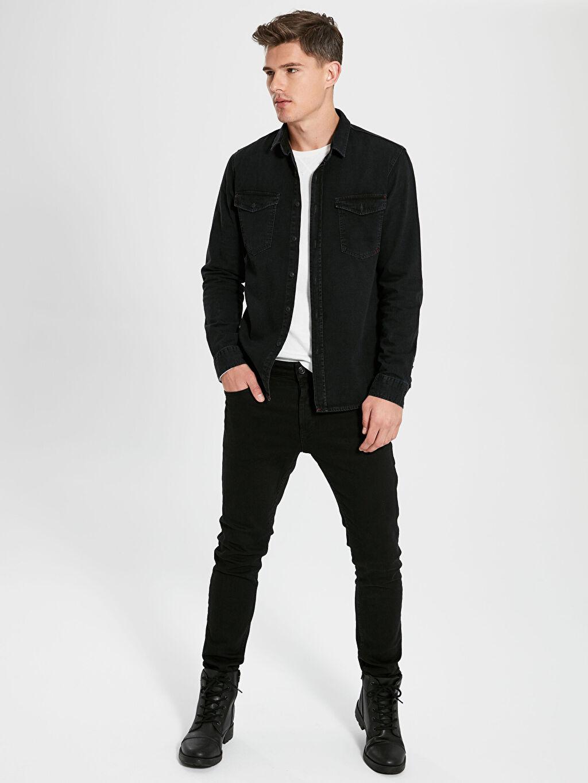 Siyah Slim Fit Uzun Kollu Jean Gömlek