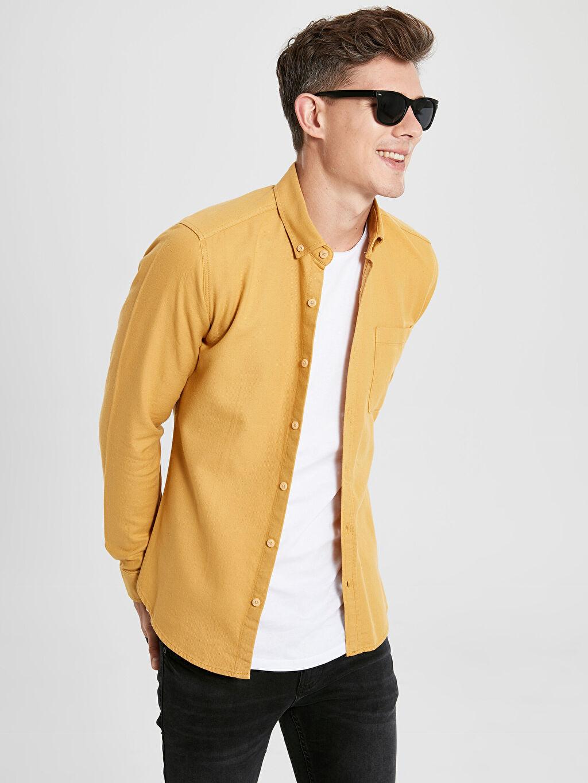 Sarı Ekstra Slim Fit Uzun Kollu Poplin Gömlek 9W6035Z8 LC Waikiki