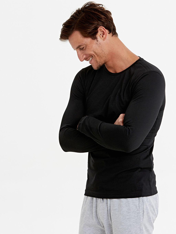 %100 Pamuk Standart İç Giyim Üst Bisiklet Yaka Basic Uzun Kollu Pamuklu Tişört