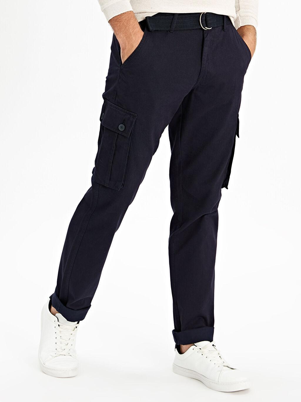 %100 Pamuk Normal Bel Pantolon Düz Standart Kemer Gabardin Kargo Standart Regular Fit Kargo Cepli Gabardin Pantolon