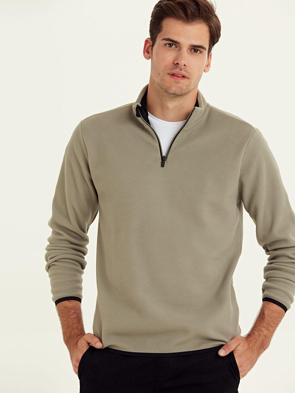 Bej Aktif Spor Polar Sweatshirt 9W6891Z8 LC Waikiki