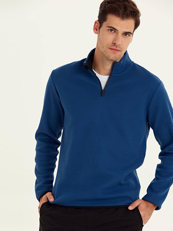 %100 Polyester Standart Polar Sweatshirt Dik Yaka Aktif Spor Polar Sweatshirt