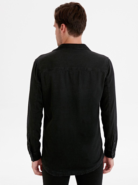 %100 Pamuk %100 Pamuk Ekose Astar Jean Gömlek Standart Gömlek Yaka Uzun Kol Düz Regular Fit Uzun Kollu Jean Gömlek