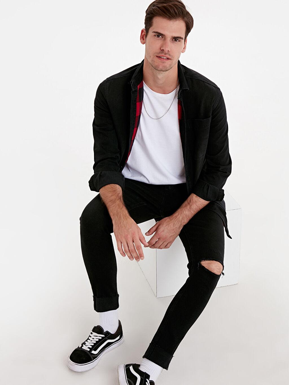 Erkek Regular Fit Uzun Kollu Jean Gömlek