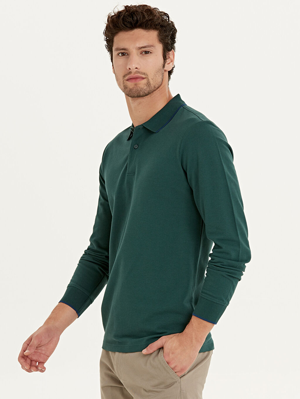%100 Pamuk Polo Yaka Uzun Kol Düz Standart Tişört Polo Yaka Uzun Kollu Basic Tişört