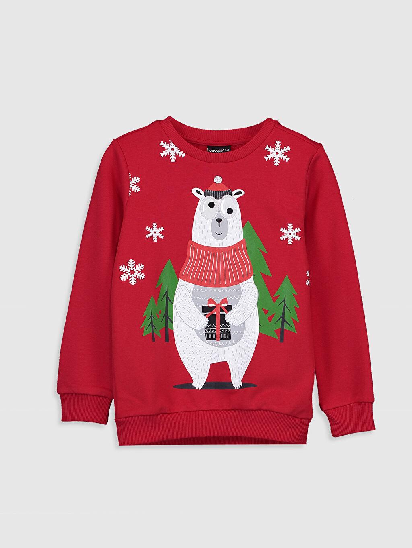 Kırmızı Yılbaşı Temalı Erkek Çocuk Baskılı Sweatshirt 9W9250Z4 LC Waikiki
