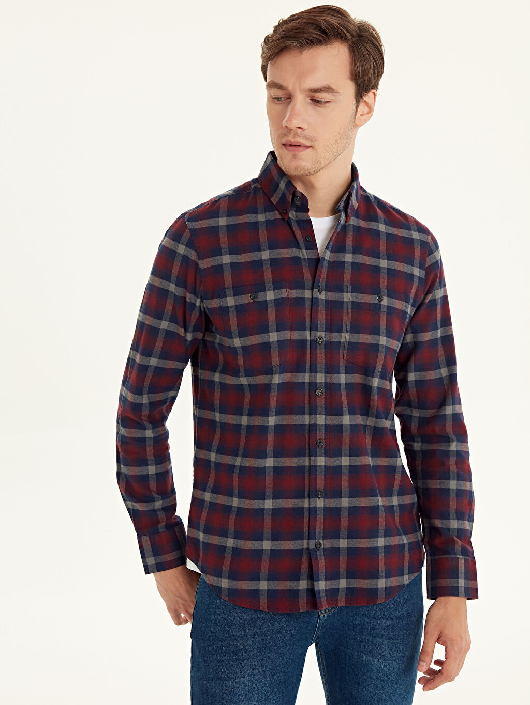 %100 Pamuk Uzun Kol Gabardin Düğmeli Gömlek Yaka Gömlek Ekose Standart Patlı Regular Fit Ekose Gabardin Uzun Kollu Gömlek
