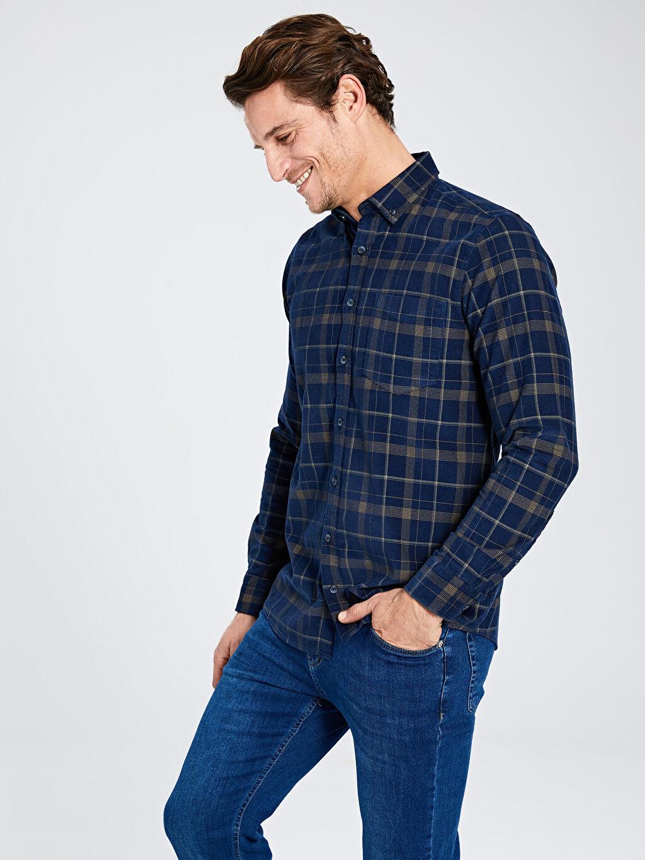 %100 Pamuk Normal Uzun Kol Ekoseli Gömlek Düğmeli Regular Fit Ekose Uzun Kollu Kadife Gömlek