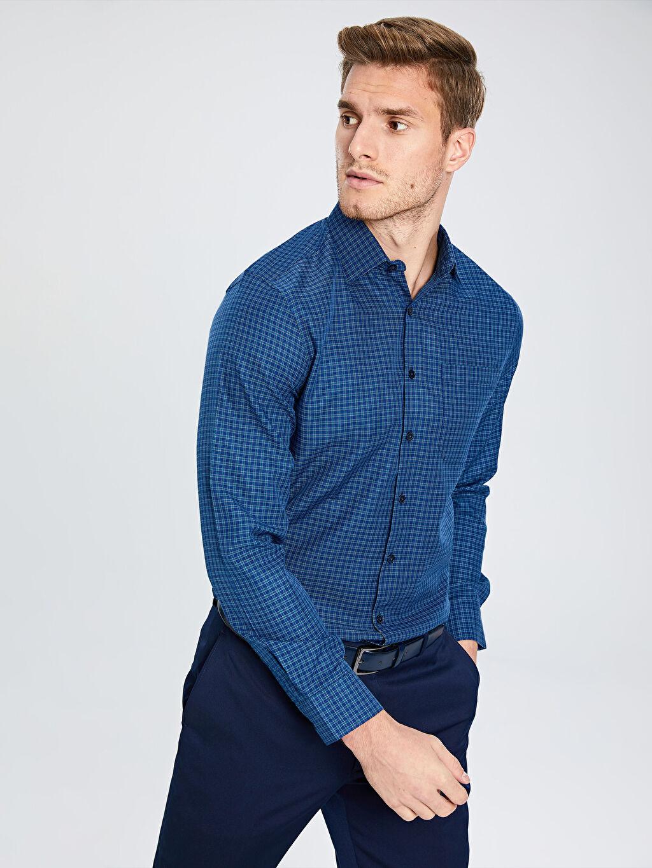 Mavi Regular Fit Ekose Uzun Kollu Gabardin Gömlek 9W9684Z8 LC Waikiki