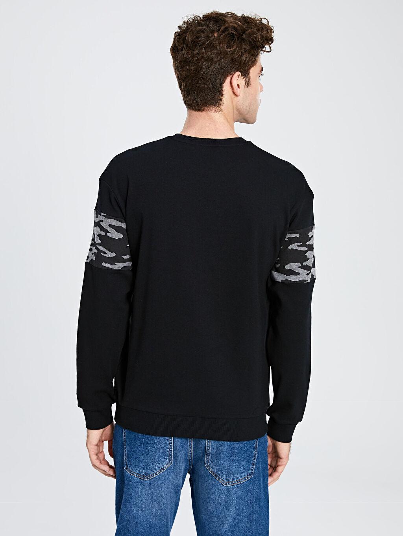 %100 Pamuk Bisiklet Yaka Baskılı Uzun Kollu Sweatshirt