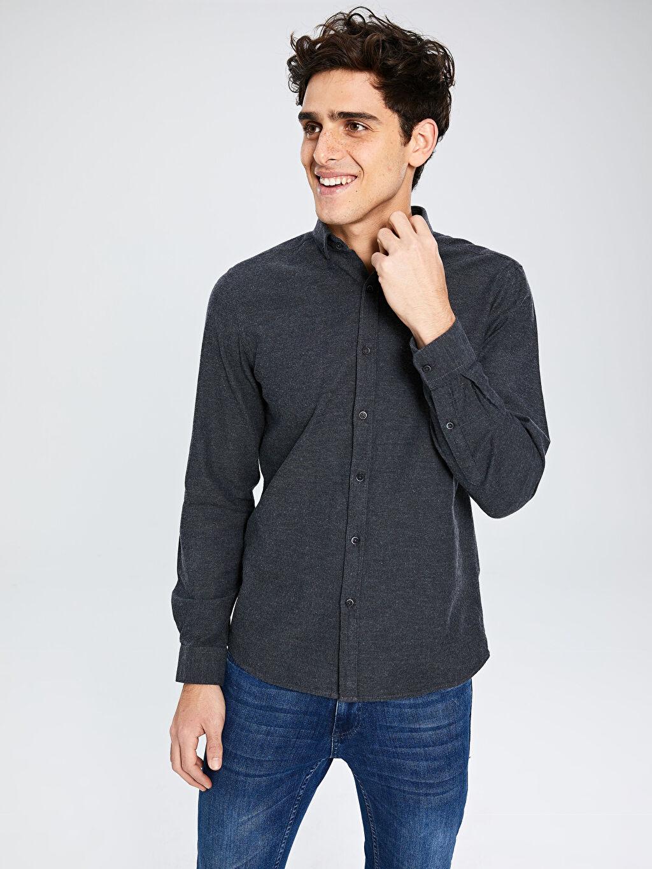 %100 Pamuk Dar Patlı Uzun Kol Gömlek Düz Düğmeli Gömlek Yaka Kalın Slim Fit Uzun Kollu Armürlü Gömlek