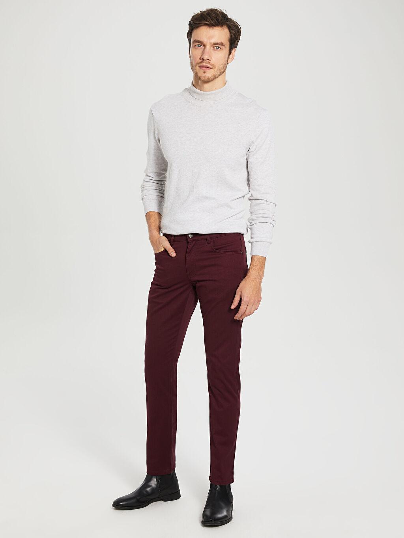 %97 Pamuk %3 Elastan Aksesuarsız Normal Bel Uzun Dar Beş Cep Pantolon Düz Slim Fit Armürlü Pantolon