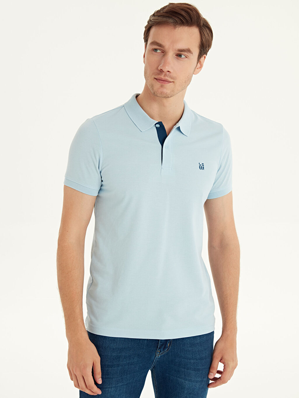%48 Pamuk %52 Polyester Düz Standart Tişört Pike Polo Yaka Kısa Kol Polo Yaka Basic Pike Tişört