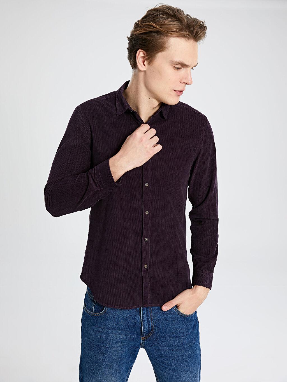 %100 Pamuk Uzun Kol Desenli En Dar Gömlek Düğmeli Ekstra Slim Fit Dokulu Kadife Gömlek