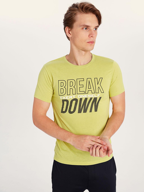 Yeşil Bisiklet Yaka Baskılı Aktif Spor Tişört 9WK689Z8 LC Waikiki