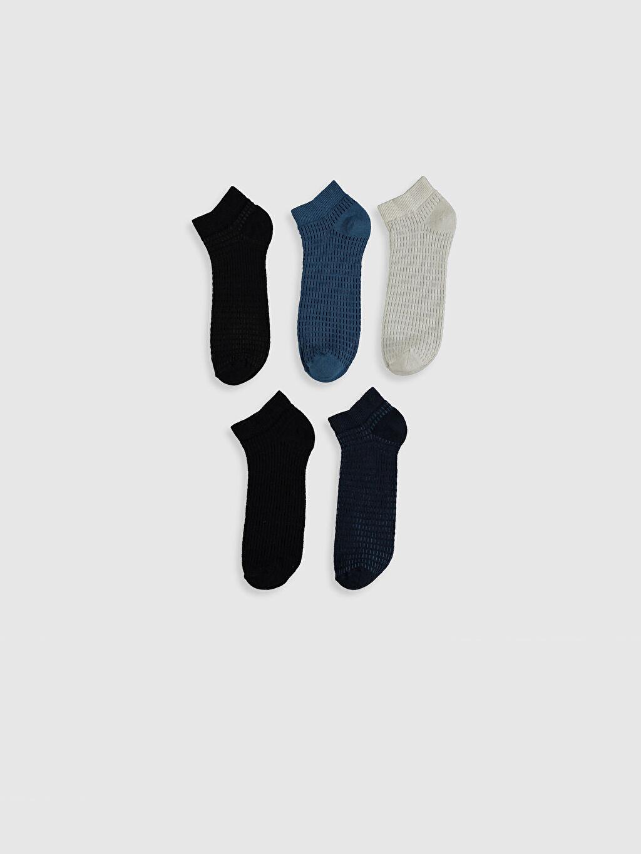 %73 Pamuk %25 Poliamid %2 Elastan Günlük Orta Kalınlık Patik Çorap Dikişli Baskılı Desenli Patik Çorap 5'li
