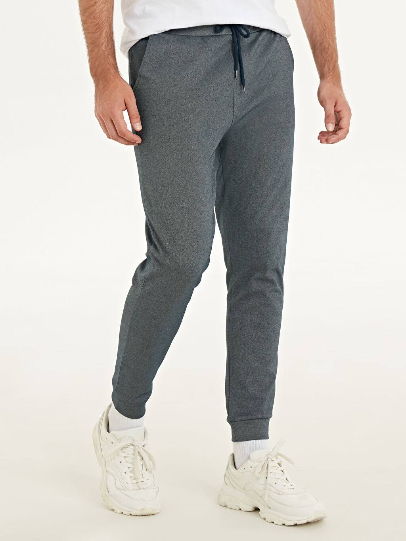 %85 Pamuk %13 Poliester %2 Elastan Normal Bel Dar Pilesiz Pantolon Slim Fit Jogger Pantolon