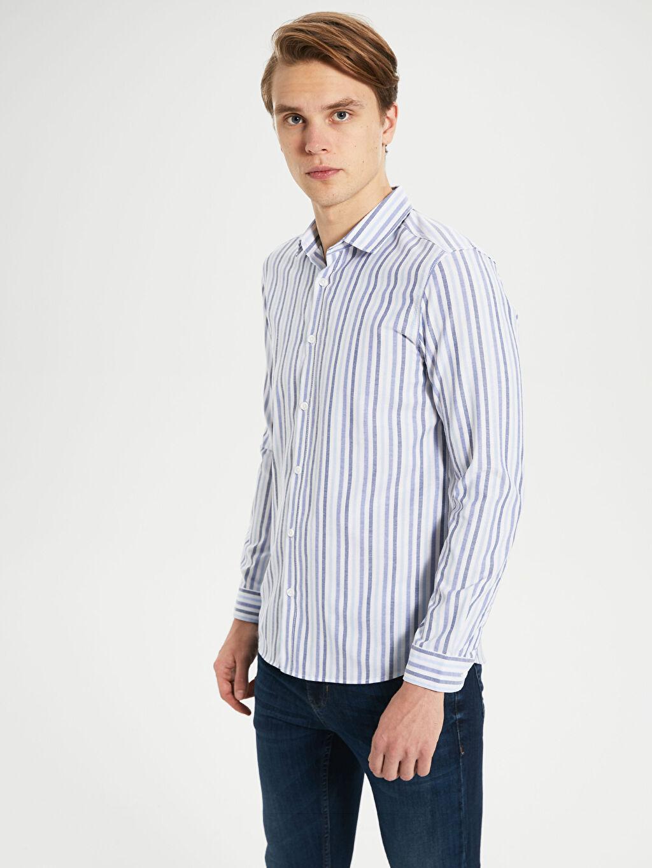 %52 Pamuk %48 Polyester Uzun Kol Çizgili En Dar Gömlek Düğmesiz Ekstra Slim Fit Çizgili Gömlek
