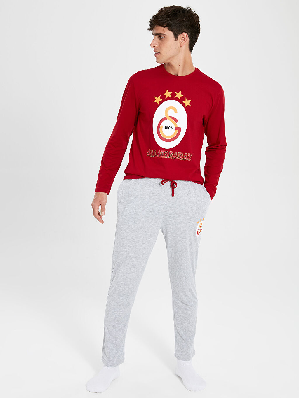 %100 Pamuk %100 Pamuk Standart Pijama Takım Düz Süprem Standart Kalıp Galatasaray Pijama Takımı