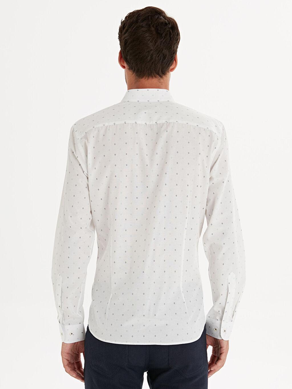 Erkek Slim Fit Desenli Uzun Kollu Gömlek