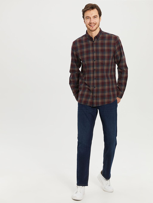 %100 Pamuk Kareli Normal Uzun Kollu Gömlek