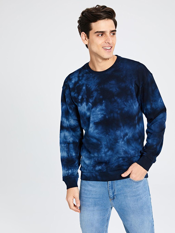 %100 Pamuk Sweatshirt Bisiklet Yaka Batik Desenli Sweatshirt