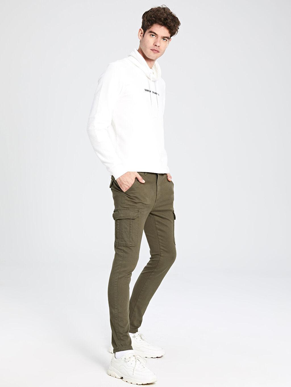 %98 Pamuk %2 Elastan Kargo Normal Bel Dar Pantolon Düz Standart Gabardin Ekstra Slim Fit Gabardin Pantolon