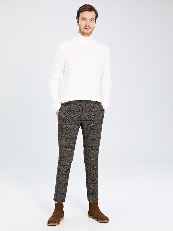 Kahverengi Slim Fit Ekose Poliviskon Bilek Boy Pantolon 9WT781Z8 LC Waikiki