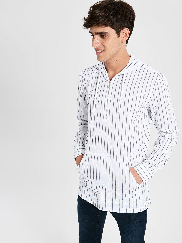 %100 Pamuk Uzun Kol Gömlek Normal Düğmesiz Çizgili Regular Fit Çizgili Kapüşonlu Uzun Kollu Gömlek