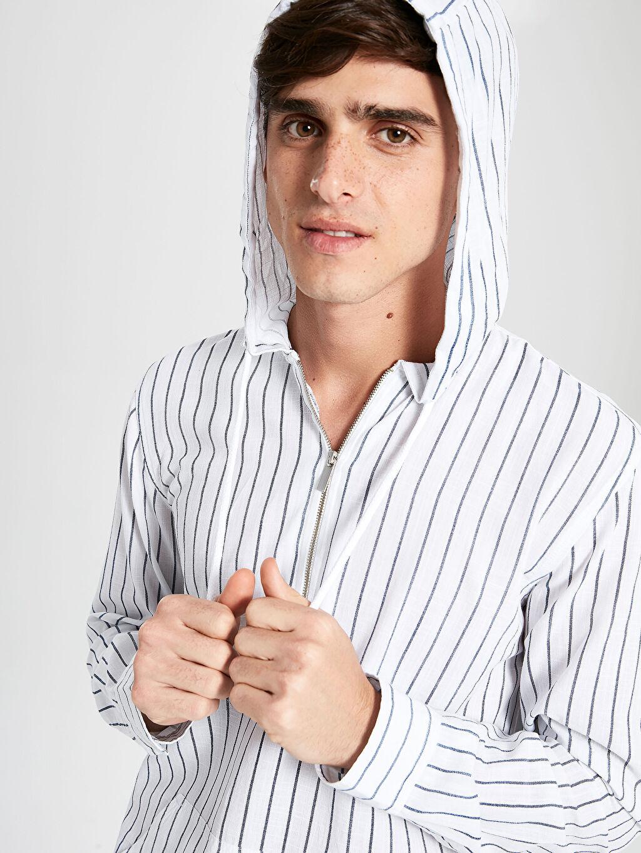 Erkek Regular Fit Çizgili Kapüşonlu Uzun Kollu Gömlek