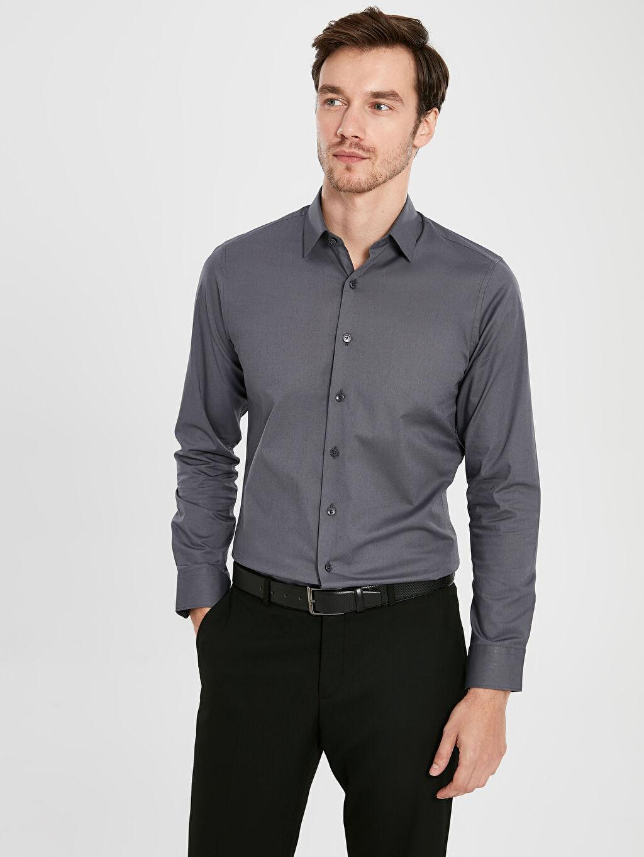 %97 Pamuk %3 Elastan Dar Gömlek Düğmesiz Düz Uzun Kol Slim Fit Uzun Kollu Poplin Gömlek