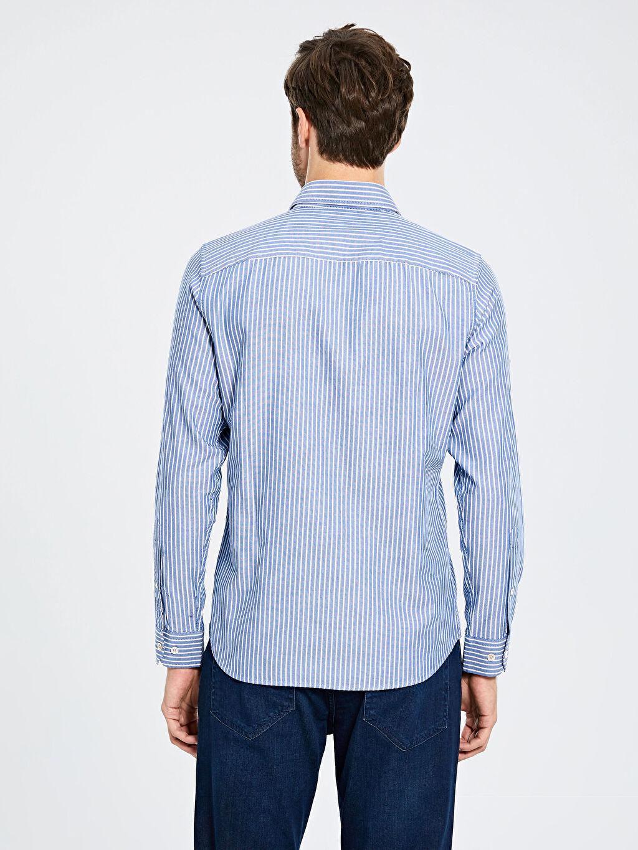 Erkek Slim Fit Oxford Pamuklu Gömlek